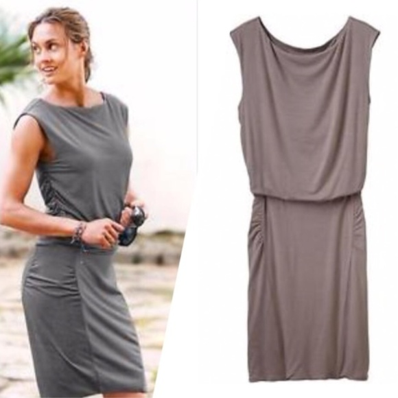 4e897d82689c5 Athleta Dresses   Skirts - Athleta Micro Stripe Westwood Dress Ruched  Bodycon